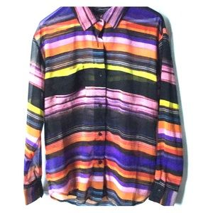 Long sleeve button down multicolor sheer blouse